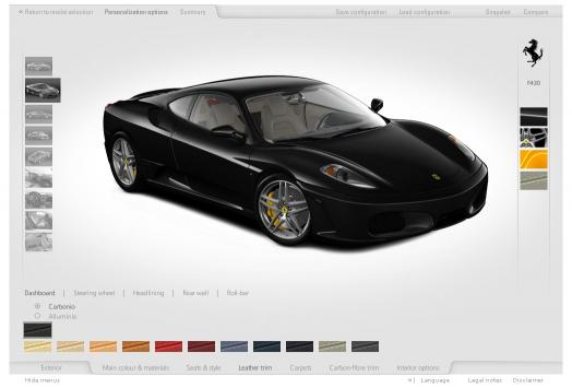 Ferrari Car Configurator, website