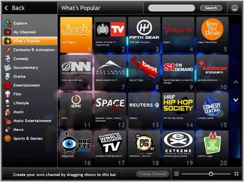 Joost 1.0 Beta Television en Linea
