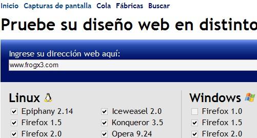 Capturas de Pantalla en distintos navegadores web