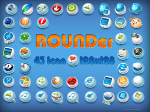 Rounder paquete de 43 iconos