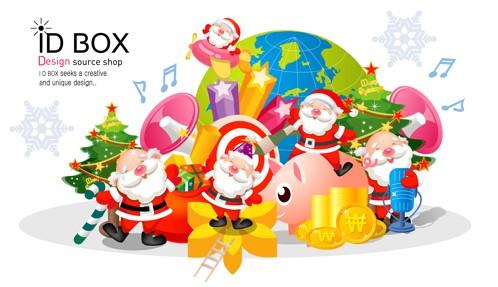 vectores de santa claus, vectores de cajas de regalos, vectores de navidad