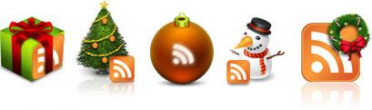 botones rss con elementos navideños