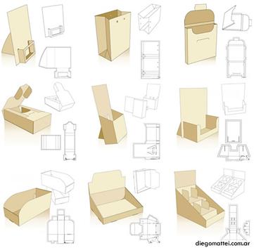 Vectores de moldes de cajas y empaques