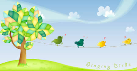singing birds 50 vectores para diseño web