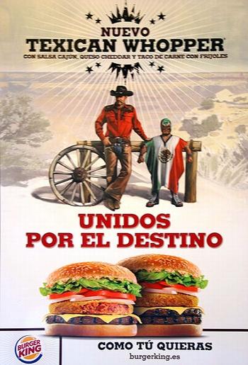 carteles de publicidad utilizaban la bandera de México