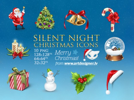 Silent Night Christmas icons by LazyCrazy 467x350 8 Paquetes de iconos navideños gratis