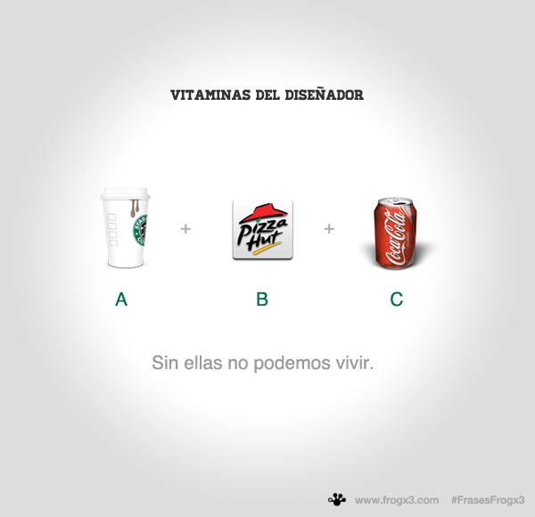 Las vitaminas de un diseñador: Cage, Pizza y Coca. #FrasesFrogx3