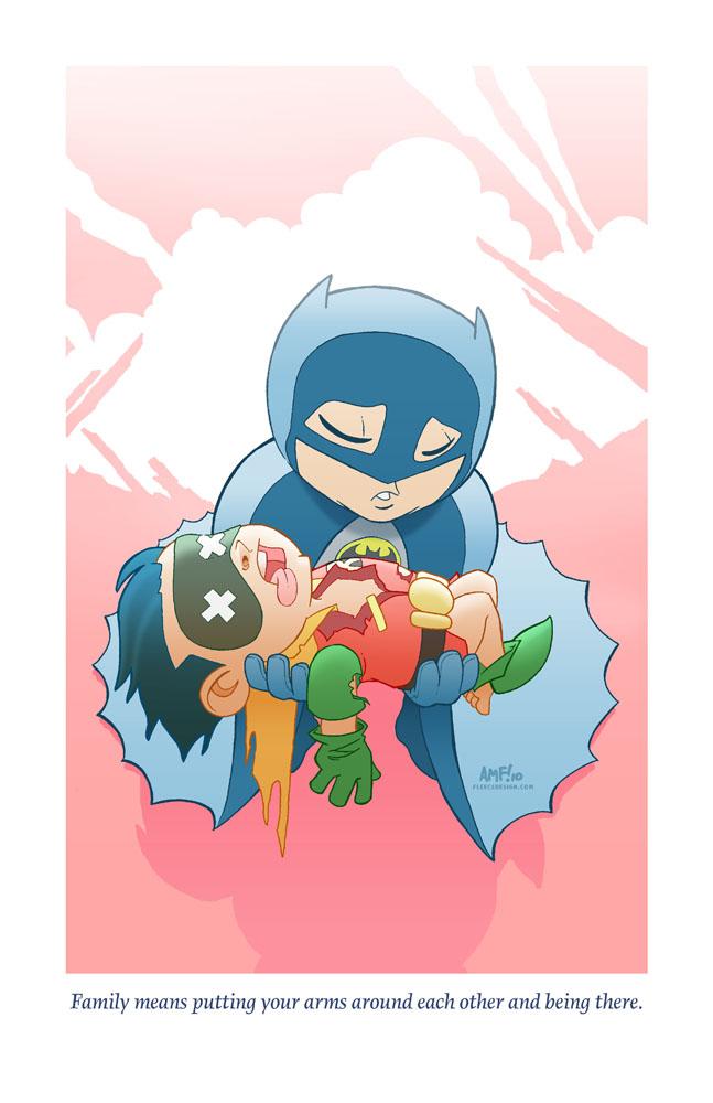 ilustraciones tragedias adorables batman robin