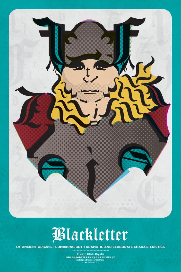 Los superhéroes representados con tipografías