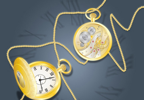 Pocket watch front and back Tutoriales Adobe Illustrator gratis