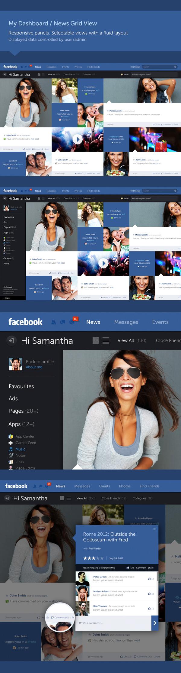 concepto de diseño facebook 2 Excelente concepto de diseño para Facebook por Fred Nerby