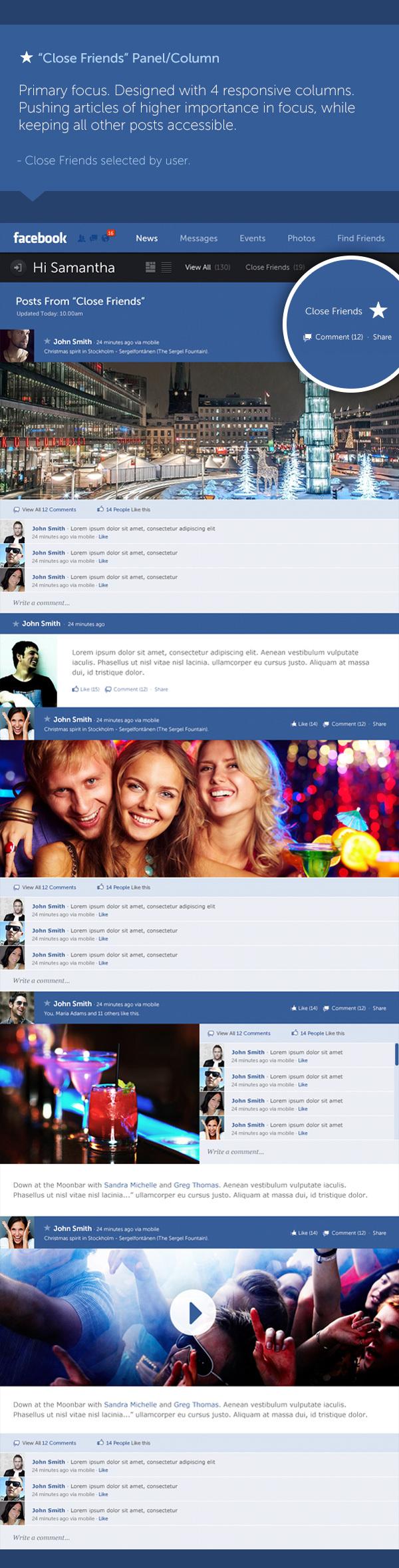 concepto de diseño facebook 5 Excelente concepto de diseño para Facebook por Fred Nerby