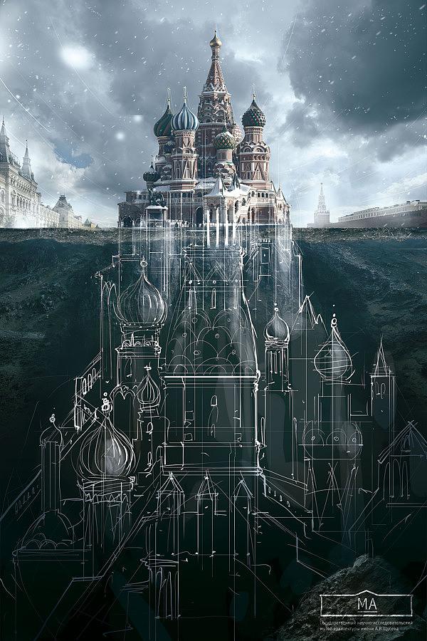001 ma saatchisaatchi Carteles de publicidad para un museo de arquitectura de Moscú