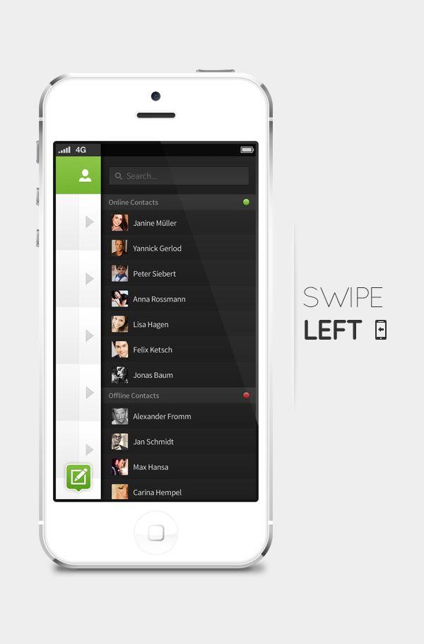concepto de diseño ui whatsapp contactos
