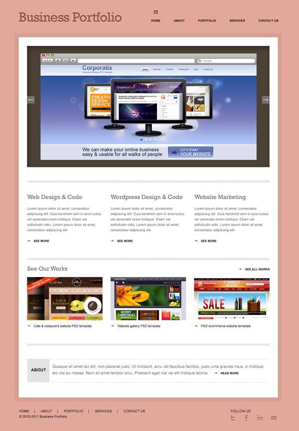 portfolio website psd 4 Plantillas PSD para portafolios en linea