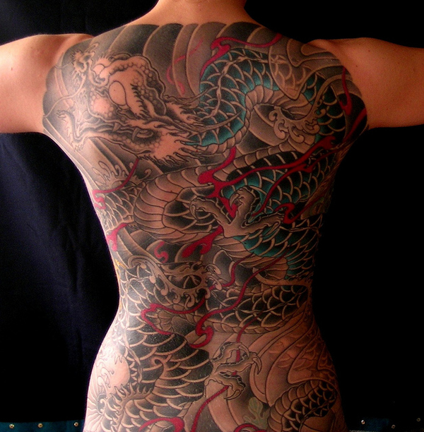 tatuaje espalda completa de dragones