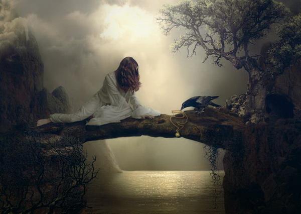 foto manipulada surreal cuervo