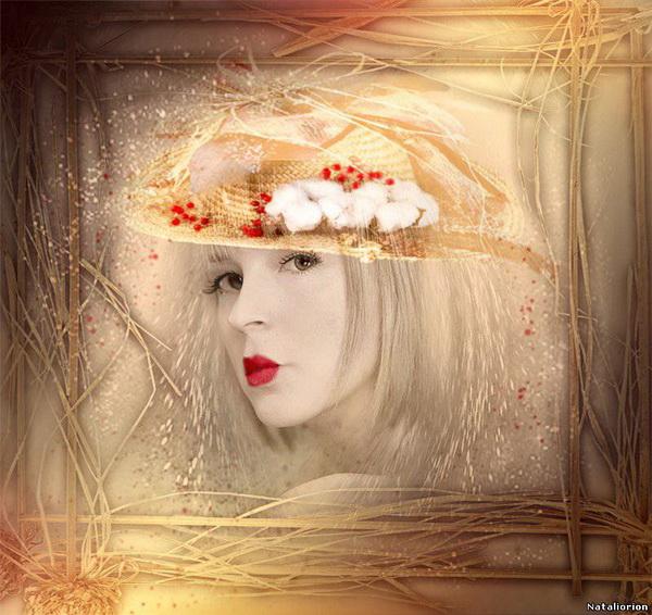 foto manipulada surreal sombrero de flores