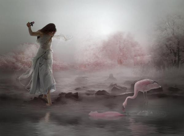 foto manipulada surreal mujer y ave