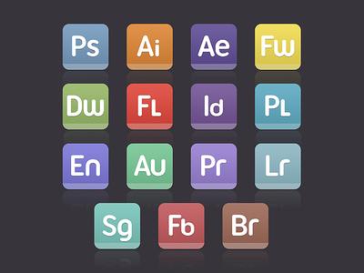 Iconos de aplicaciones de Adobe