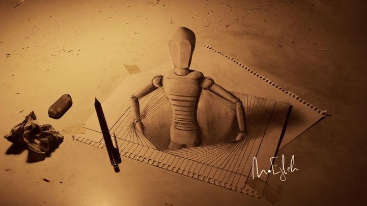 dibujos 3D que salen de las hojas 3