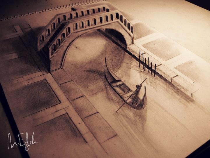dibujos 3D que salen de las hojas 5 Impresionantes dibujos 3D a lápiz que se salen del papel