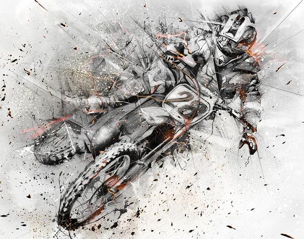 dibujos con lapiz grafito motocross