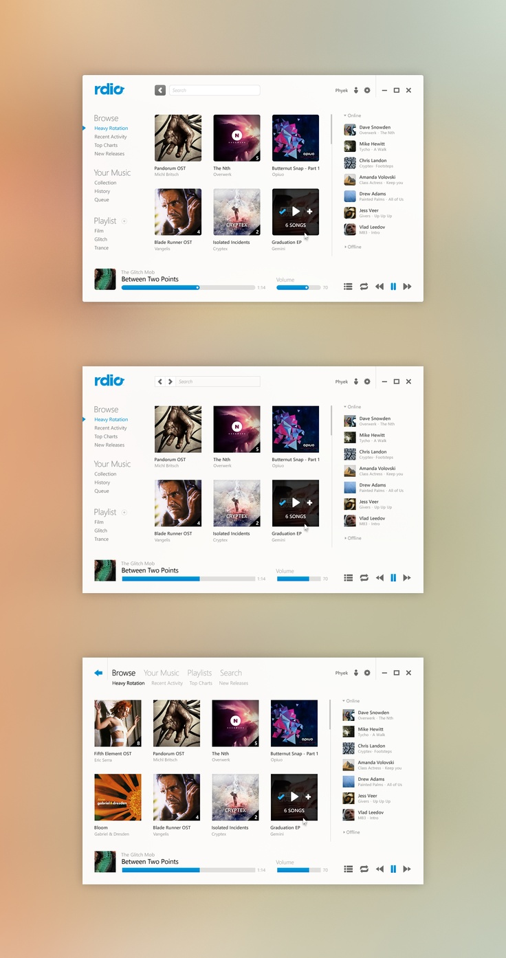 diseños de interfaces Rdio
