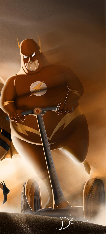 ilustraciones super heroes gordos flash Graciosas ilustraciones de superheroes gordos por Carlos Dattoli