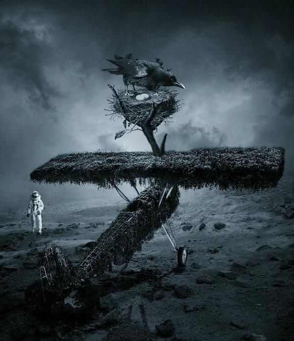 foto surrealista cuervo