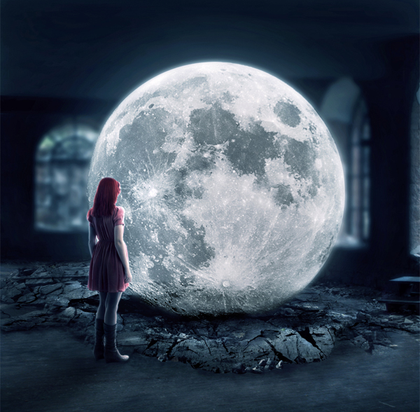 foto surrealista la luna
