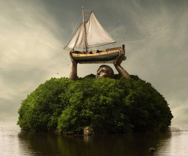 fotos manipuladas gigante en isla
