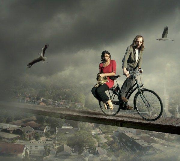 fotos manipuladas puente sobre ciudad