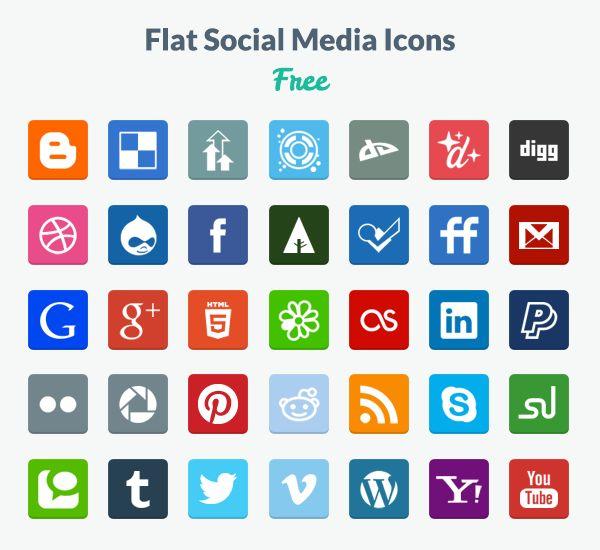 Iconos de redes sociales flat
