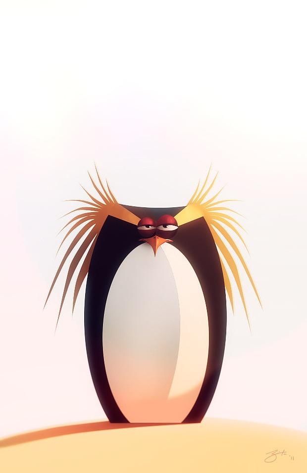 ilustración de pinguino serio