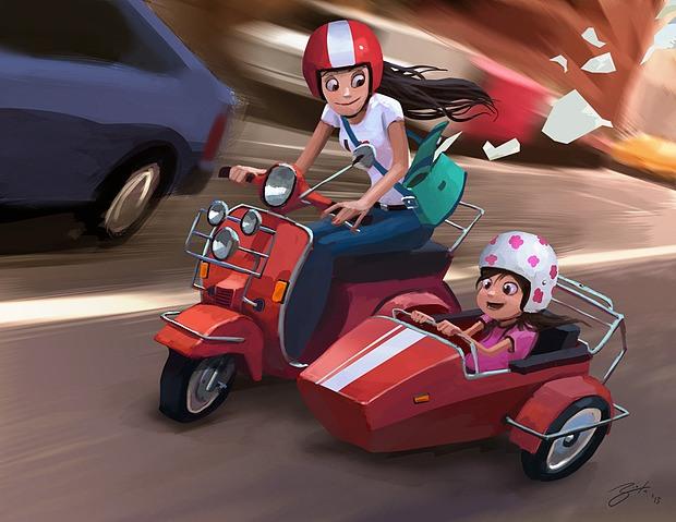 ilustración digital niñas en moto