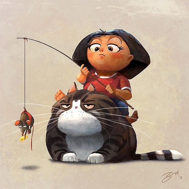ilustración pescando ratones