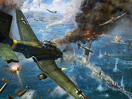 ilustraciones aviones en combate