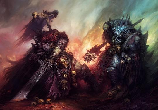 ilustraciones batalla guerreros