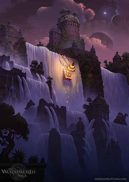 ilustraciones daniel lieske cascada de noche