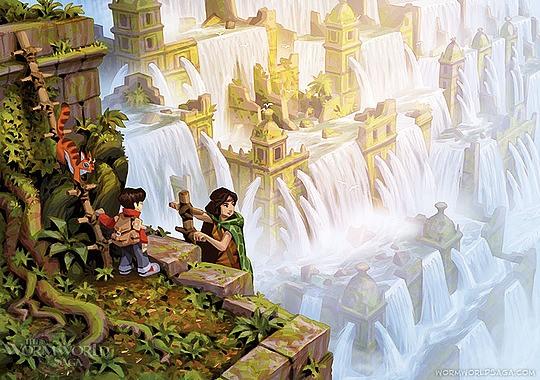 ilustraciones daniel lieske niño y cascadas