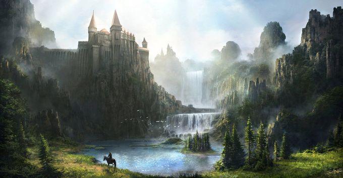 ilustraciones de escenarios castillo y cataratas