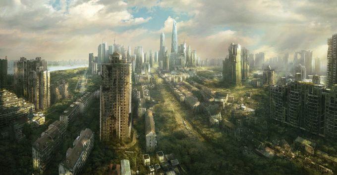 ilustraciones de escenarios ciudad fantasma