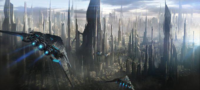 ilustraciones de escenarios ciudad futurista