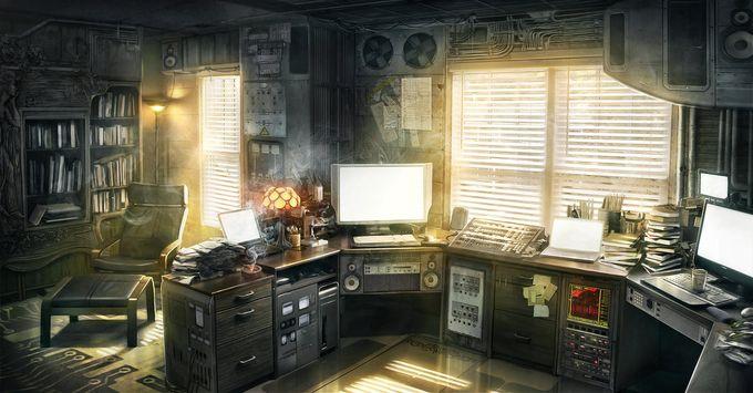 ilustraciones de escenarios oficina