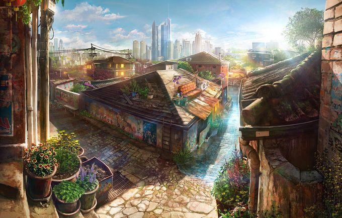 ilustraciones de escenarios villa y ciudad