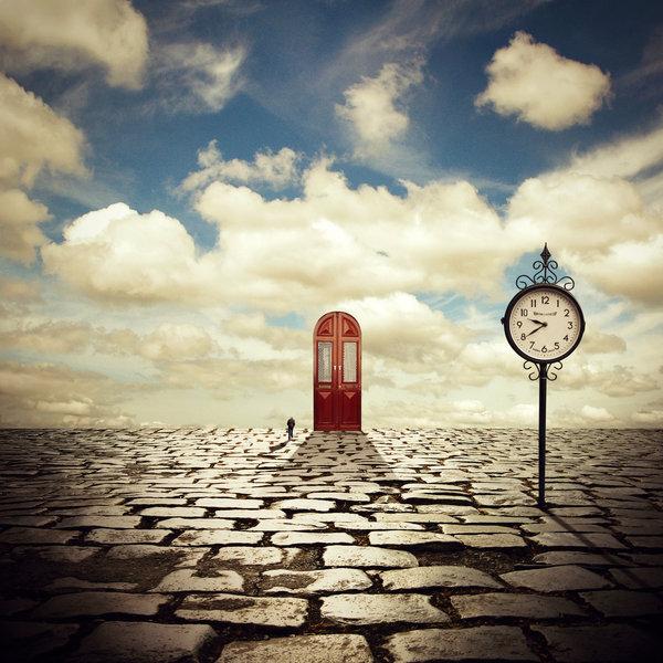 imagenes surrealistas reloj en la nada