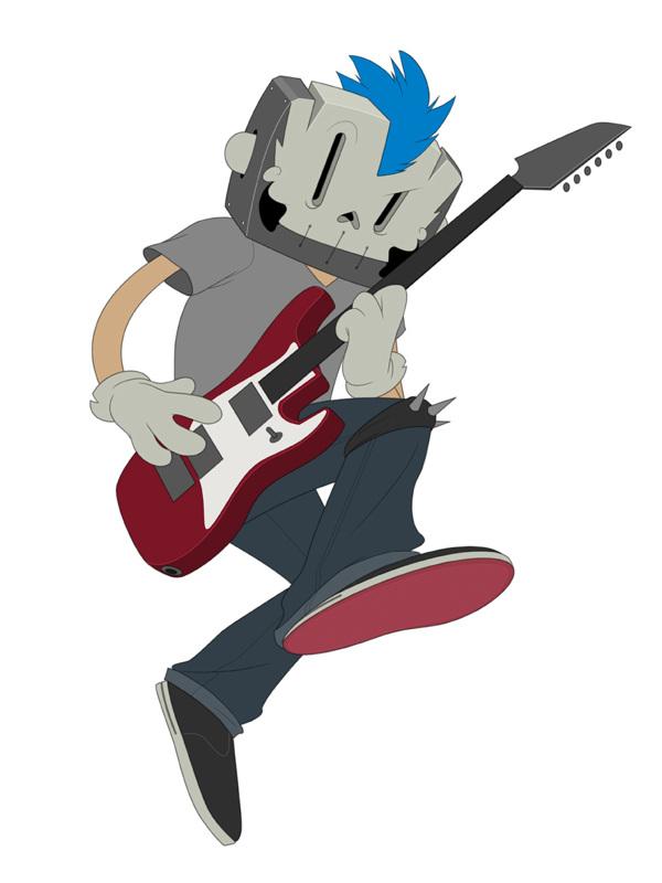 proceso ilustración punk rocker colores