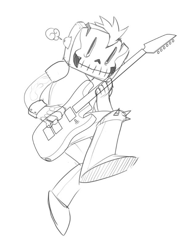 proceso de diseño ilustración punk rocker sketch