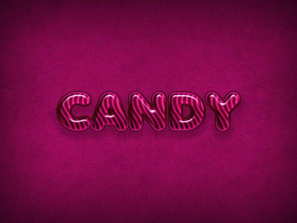 Tutoriales para efectos en texto, Efecto de dulce